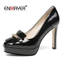 Enmayer/Женская обувь из натуральной кожи с острым носком, Повседневная Базовая обувь на каблуке, новинка 2018 года, модные женские туфли лодочки,
