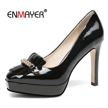 Enmayer  Genuine Leather Pointed Toe Womens Shoes Heels Casual Basic 2018 New Fashion Women Pumps Size 34-39 LY400