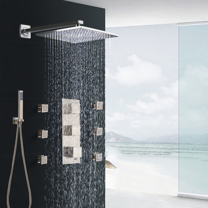 Nickel Brushed Bathroom Thermostatic Shower Faucet Set 8/10/12 Inch Shower Rain Head 3-Function Shower Set Mixer Tap Wall Mount modern wall mount shower faucet mixer tap w rain shower head