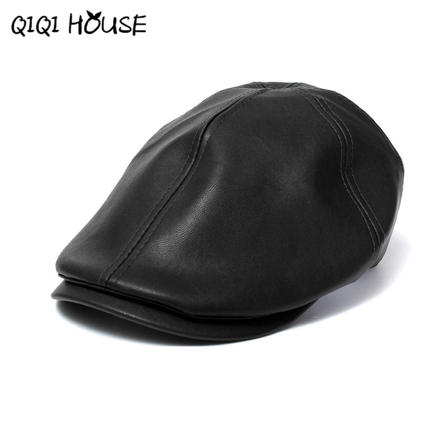 2016 New Summer Men Women Vintage Beret Newsboy Flat Cabbie Causal Driving  Hats Artificial Leather Cap sunbonnet 3546 623924417b6