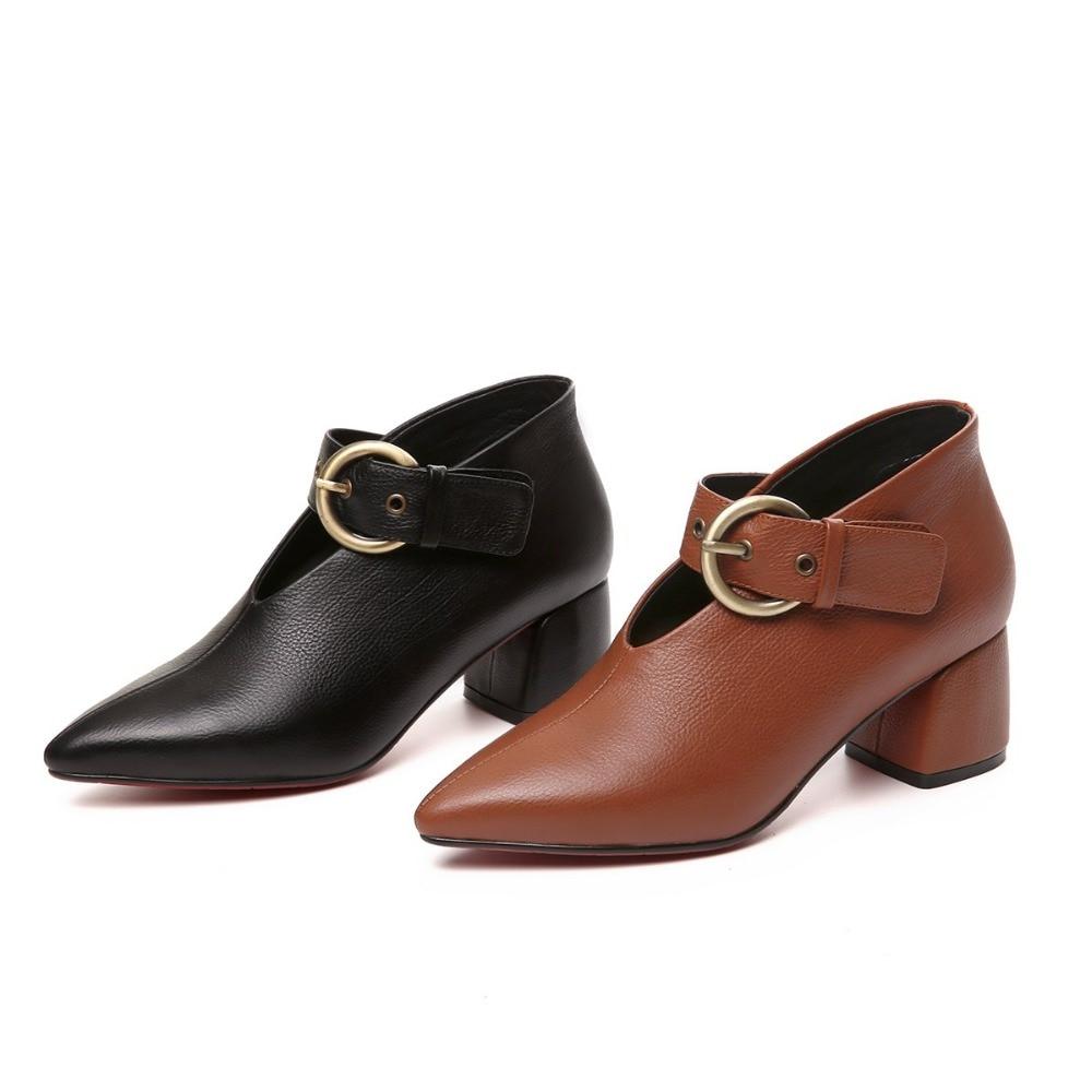 Femmes Conception Pointu Lady Pompes New Chaussures En brown Originale Luxe Black Bout Talons Vintage Cuir De Office Marque Haute Vache vZwftpqq