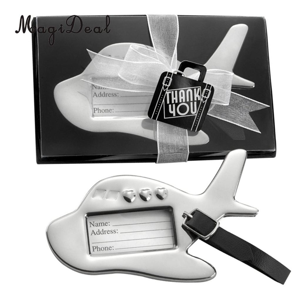 Lovely Mini Metal Airplane Luggage Tag with Box Wedding Bomboniere Party Gift Favors