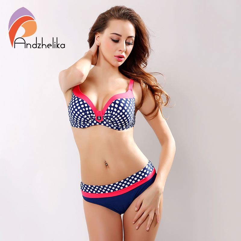 [Andzhelika ] 2018 New Swimsuit Bikini Sexy Polka Dot Large Cup Bar small Bottom Bathing Suit Push Up Swimwear LD516