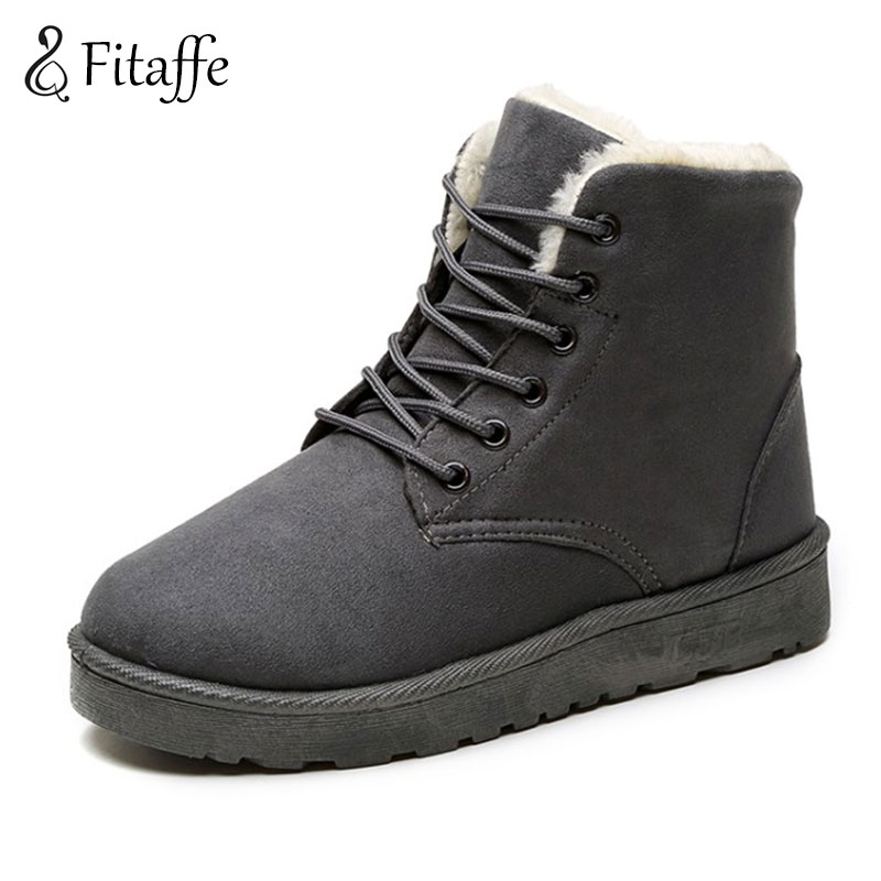 Fitaffe fashion winter warm snow boot classic botas mujer ankle snow boots female plush fur shoes woman lacing waterproof GD044 2017 cow suede genuine leather female boots all season winter short plush to keep warm ankle boot solid snow boot bota feminina