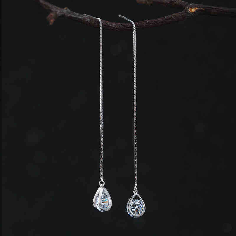 Pure 925 Sterling Silver Long Zirconia Water Earrings For Women Girls Christmas Gift Hot Fashion sterling-silver-jewelry