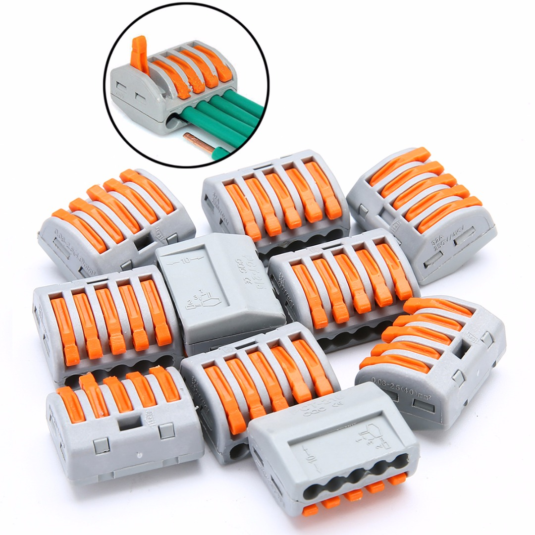 10pcs PCT-215 5 Way Reusable Spring Lever Terminal Block Electric Cable Wire Connectors 32A ...