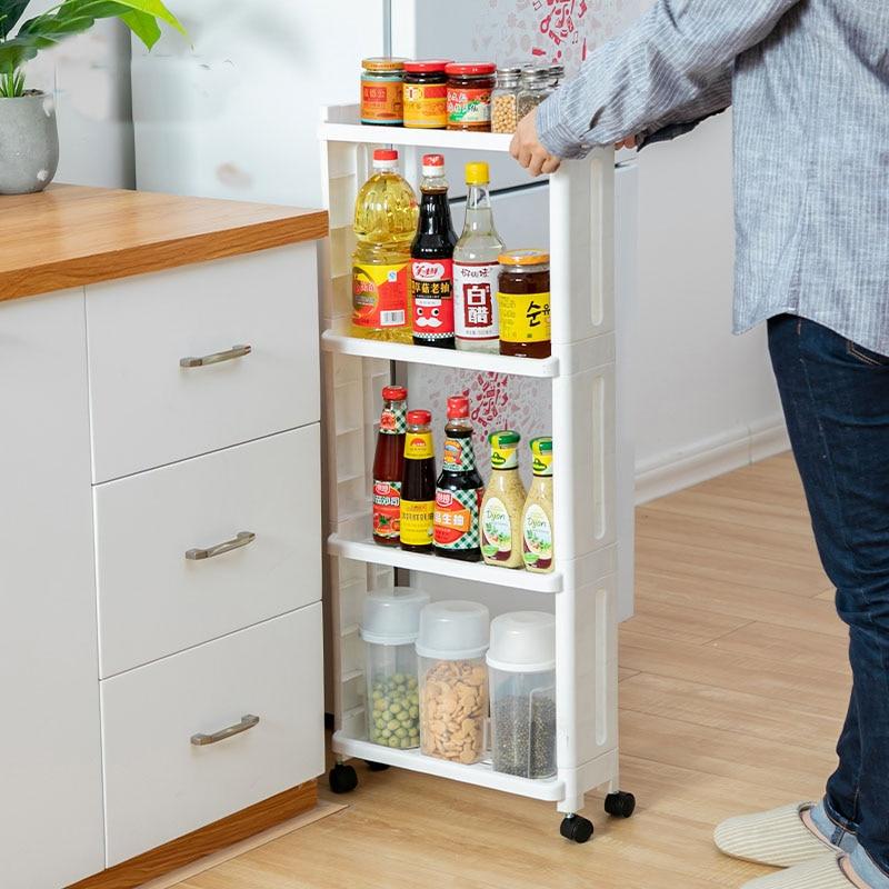 Image 4 - The Goods For Kitchen Storage Rack Fridge Side Shelf 2/3/4 Layer Removable With Wheels Bathroom Organizer Shelf Gap Holder-in Storage Holders & Racks from Home & Garden