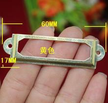 30Pcs yellow Iron Label Frame Card  60*17mm Holder without Cup Pull Handle Size small
