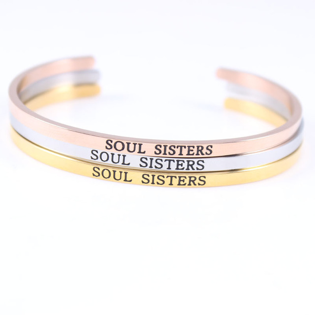 New Stainless Steel Open Cuff Bracelet Hand Imprint Soul Sisters Bangle Engraved Words