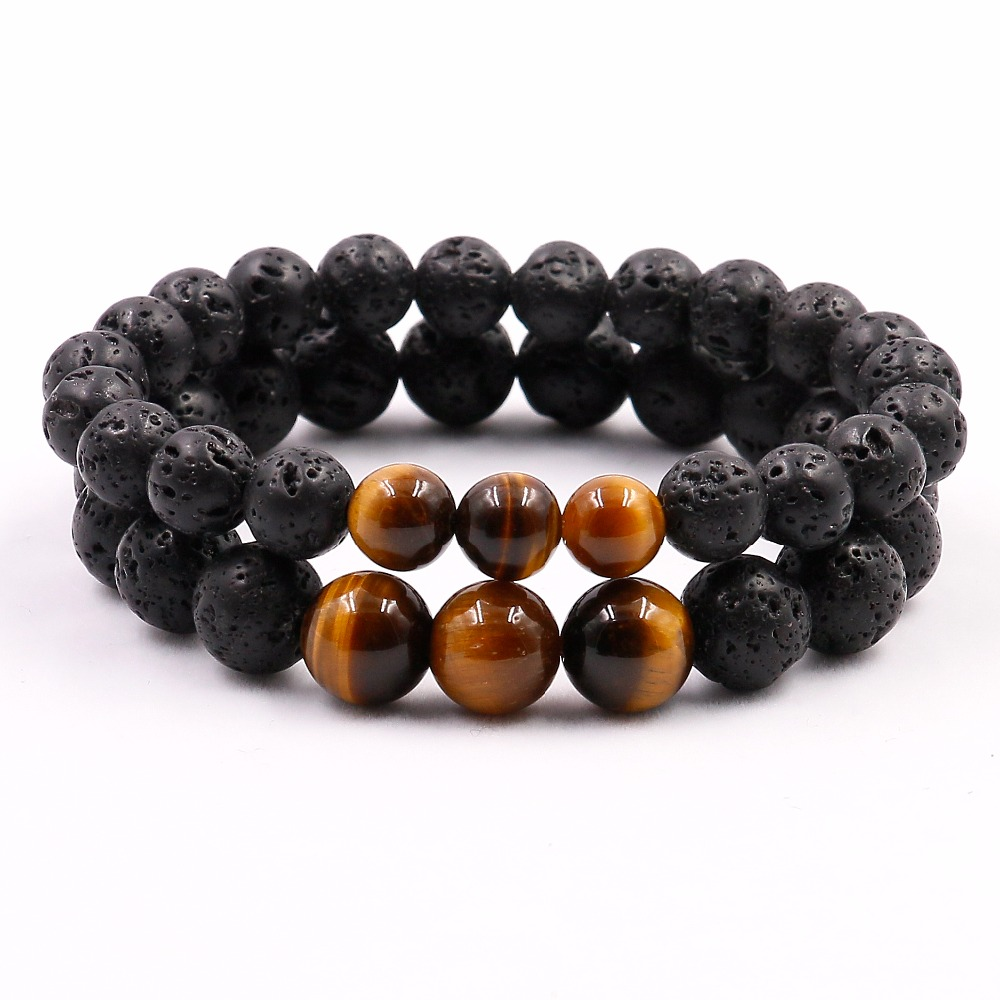 Natural Tigers Eye with Lava Stone Mala Yoga Bracelet