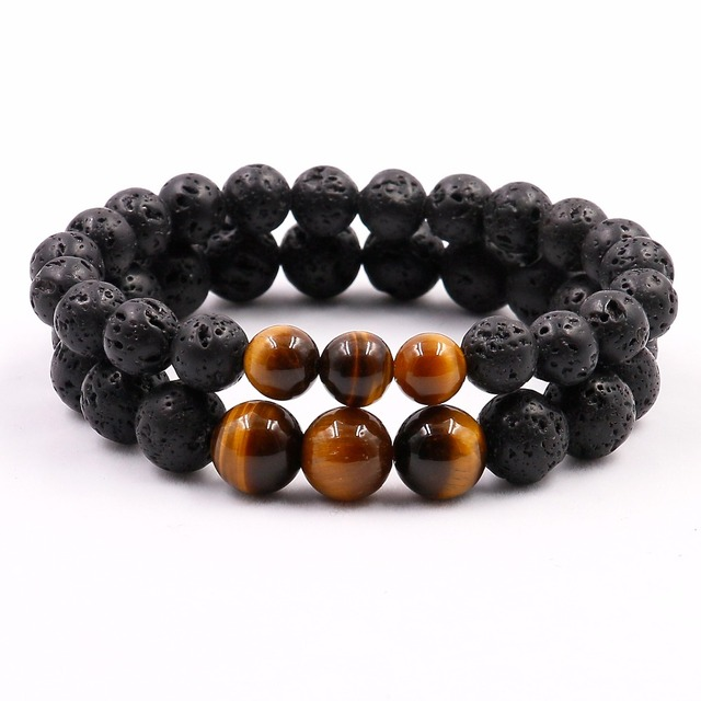 Natural Tigers Eye with Lava Stone Mala Yoga Bracelet