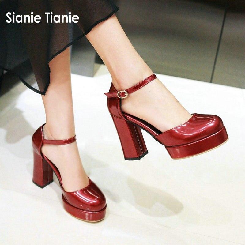 Sianie Tianie 2019 summer spring platform block high heels shoes for women patent PU buckle strap