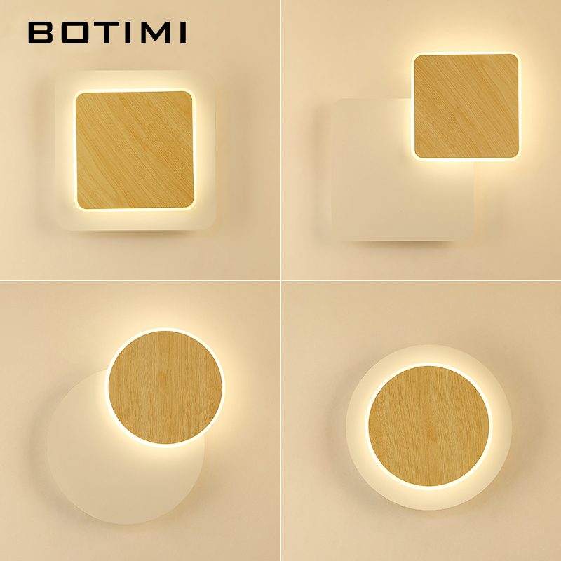 BOTIMI Designer LED Wall Lamp For Living Room Decoration Wooden Wall light Bedside Lamp White Wall Sconce Indoor Luminaire botimi modern wall lamp for living room bedside lamp led wall light nordic wall sconce simple reading light fxture