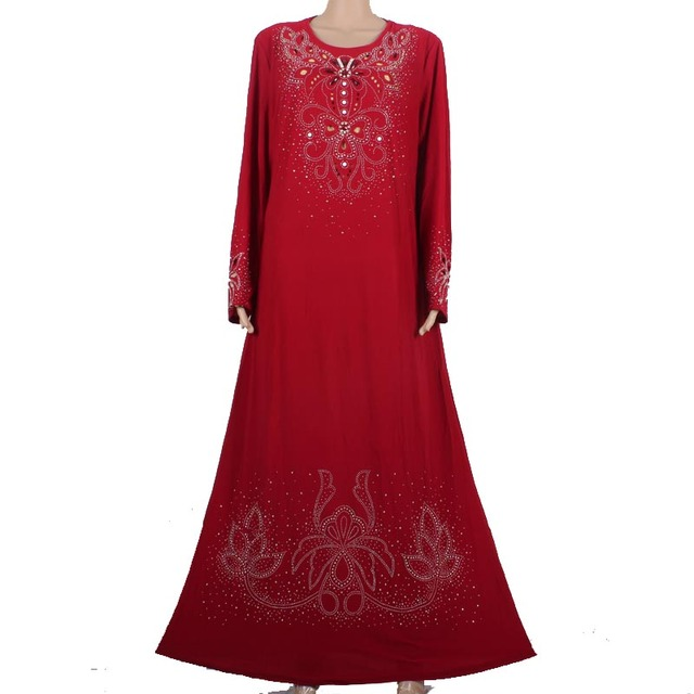 Мусульманской абая кафтан платье Исламская одежда для женщин вышивка дубай абая кафтан мусульманин хиджаб абая платье красного 55M8896