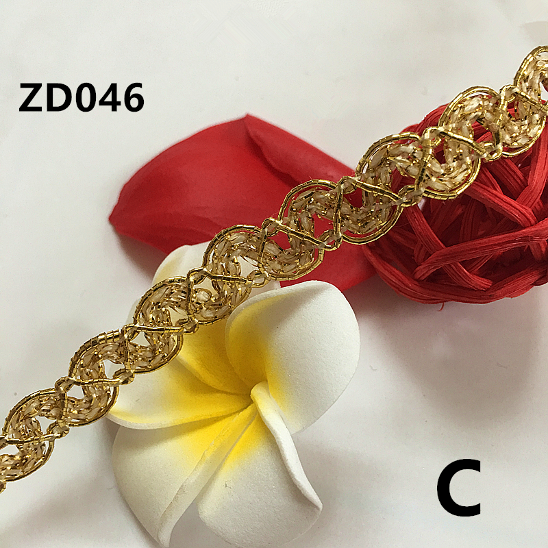 Width 10mm gold silver mixing color polyester corrugated braided lash Crochet ribbon lace trim with edge ZD046