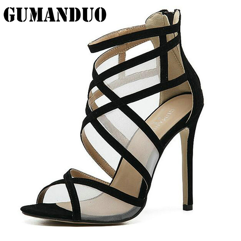 Gladiator Sandals Women Pumps Sexy Cut Outs High Heels Ankle Zipper Open Toe Lace Ladies Shoes Wedding Party Woman Stiletto fashion buttons rivet studs high heels designer gladiator sandals red black women pumps party dress sexy wedding shoes woman