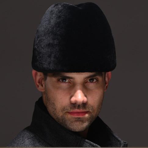 HM040  Real genuine wool fur hat  winter Russian men's warm caps whole piece sheep  fur hats