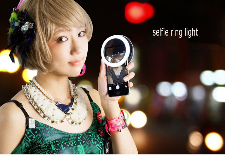 IZYEKY 20pcs/lot DHL Rechargeable Selfie Ring Light Portable LED Light for iPhone 6 6s 7 plus samsung xiaomi redmi 4 pro