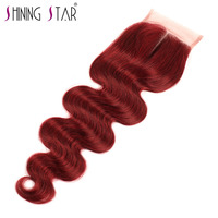 Bold Red 99J Brazilian Body Wave Closure Middle Part 4 4 Nonremy Shining Star 100 Human
