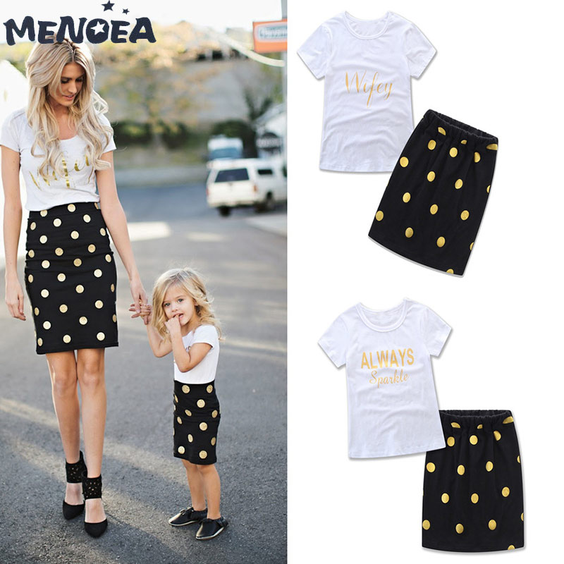 Menoea Household Matching Outfits Mom & Daughter Matching Garments Units Ladies Polka Dot T-Shirt+Skirts Swimsuit Lady Clothes Set