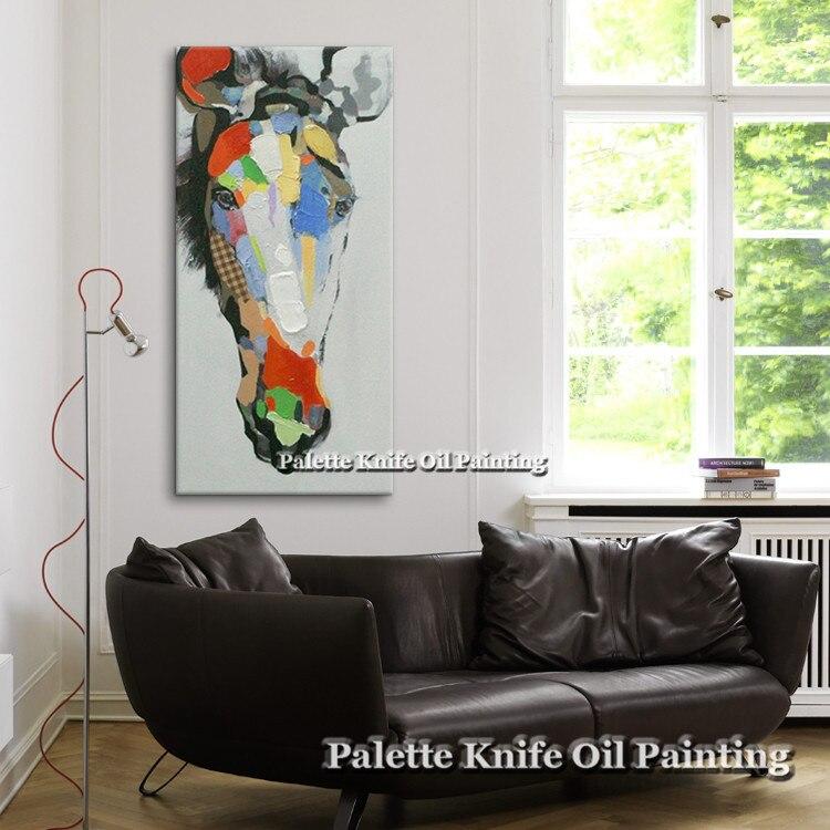 유화 캔버스 벽 그림 거실 벽 예술 캔버스 팝 아트 말 현대 추상 손으로 그린 14