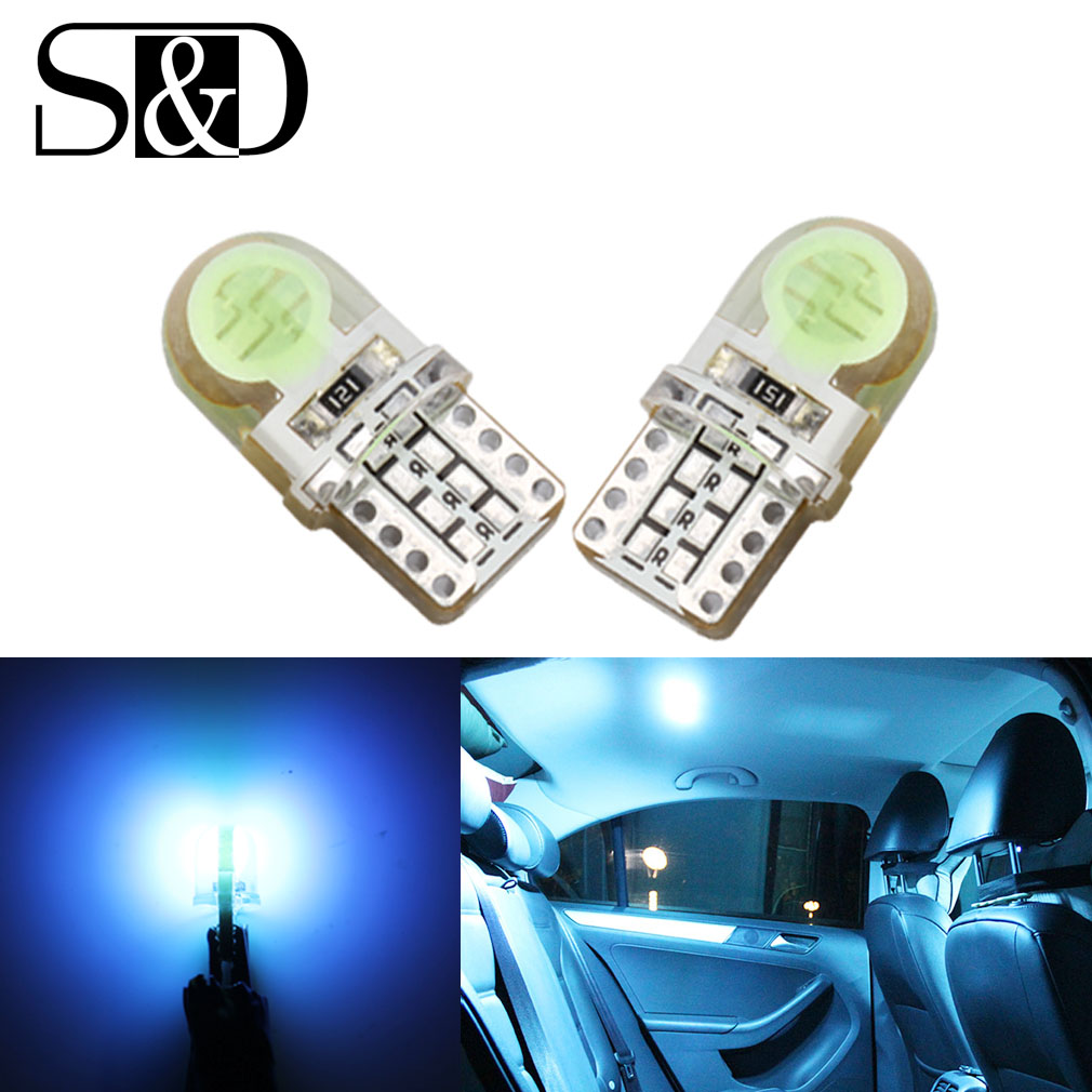 6pcs Auto T10 Cool Ice Blue 194 W5W  168 COB 8-SMD Silica Car LED Super Bright Turn Side License Plate Light Lamp Bulb DC12V uxcell 10 pcs ice blue 3020 smd led vehicles car dashboard dash light lamp internal