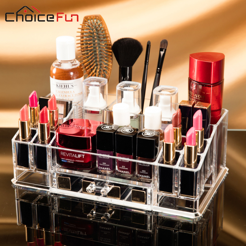 CHOICE FUN Easy Clear Desk Table Make Up Cosmetic Makeup Box Organization Plastic Lipstick Brush Home And Storage Organization