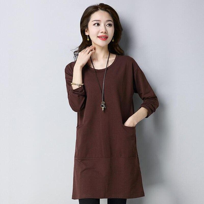 Plus size T-Shirt da Donna Primavera maglietta Lunga di colore Solido Selvaggio Signore Eleganti Sciolto maniche Lunghe Top T-Shirt 4XL haut femme