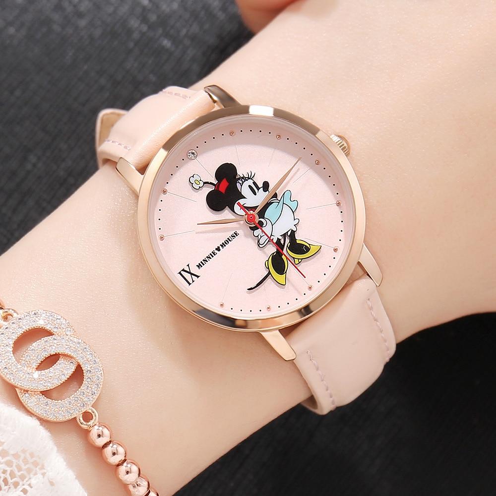 Saatler'ten Kadın Saatleri'de Disney marka Mickey mouse saatler bayan kuvars saatı deri kadın saatler su geçirmez bayanlar saatler vatandaş hareketi title=