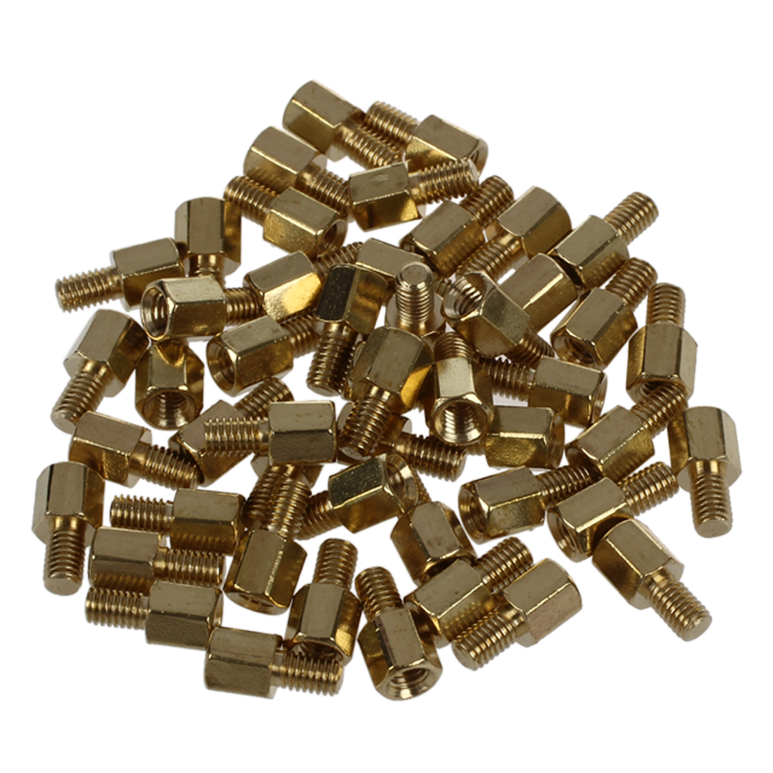 50 Pcs Brass Screw PCB Standoffs Hexagonal Spacers M3 Male x M3 Female 5mm m3 x 15mm hexagon brass cylinder golden 50 pcs