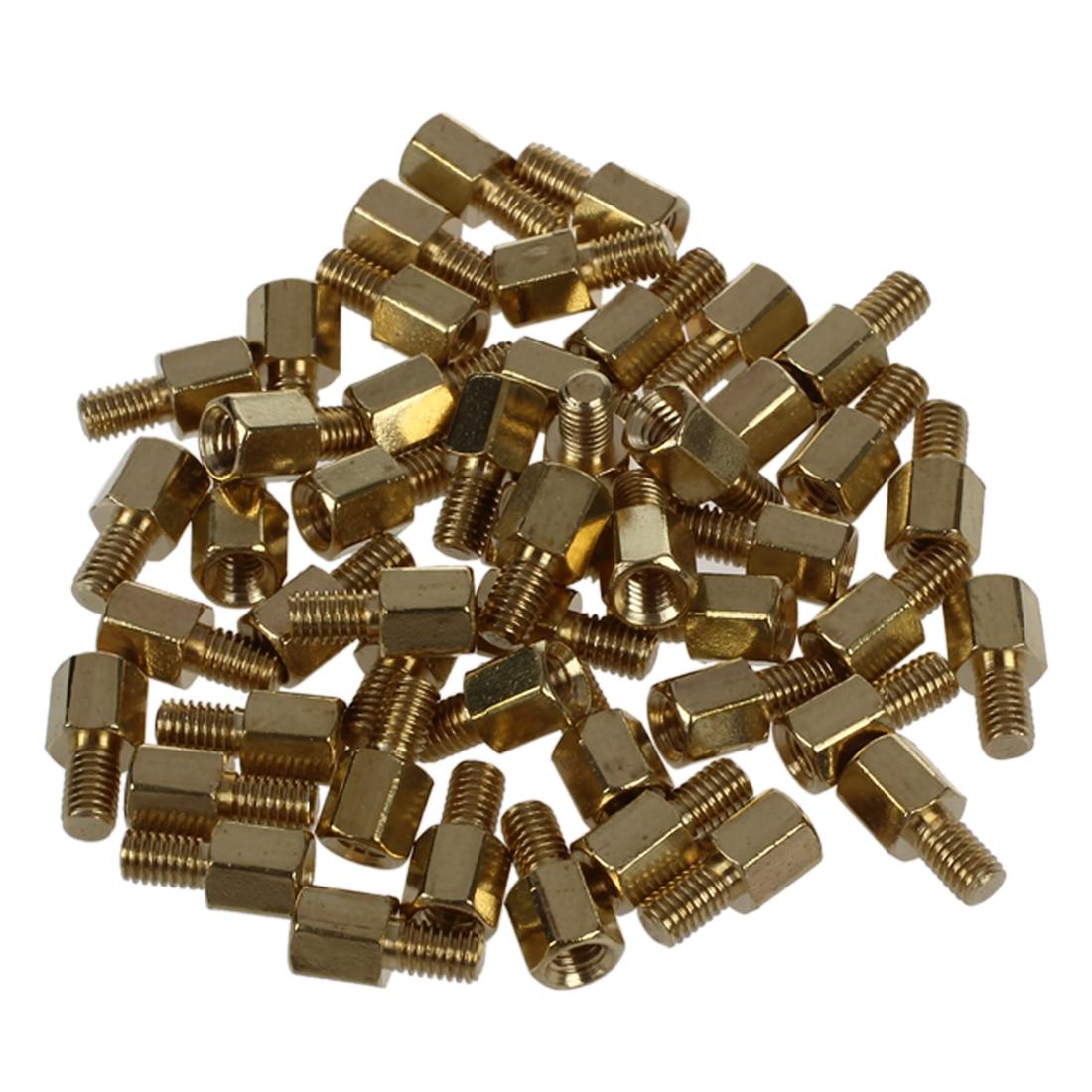 50 Pcs Brass Screw PCB Standoffs Hexagonal Spacers M3 Male X M3 Female 5mm