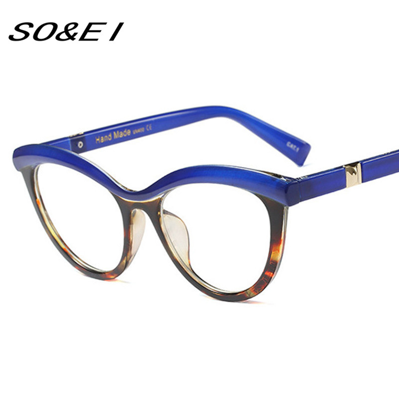 3b587fe150 SOEI Fashion Mixed Colors Frame Women Cat Eye Glasses Frame Ladies Anti  Blue Rays Optical Eyeglasses Frames UV400-in Sunglasses from Apparel  Accessories on ...