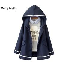 Merry Pretty осень зима для женщин куртка элегантный дизайн Mori Girl сплошной цвет с капюшоном длинным рукавом Смеси теплое пальто повседневная верхняя одежда