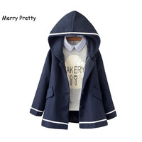 Merry Pretty Autumn Winter Women Jacket Japanese Style Mori Girl Solid Color Hooded Long Sleeve Blends