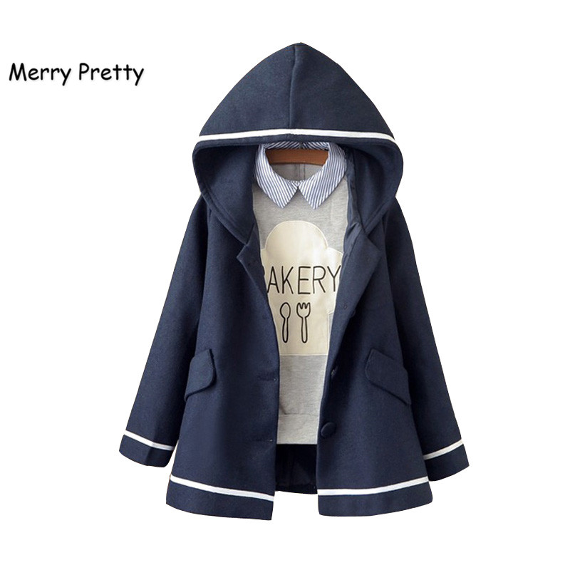 Merry Pretty Autumn Winter Women Jacket Preppy Style Mori Girl Solid Color Hooded Long Sleeve Blends Warm Coat Casual Outerwear