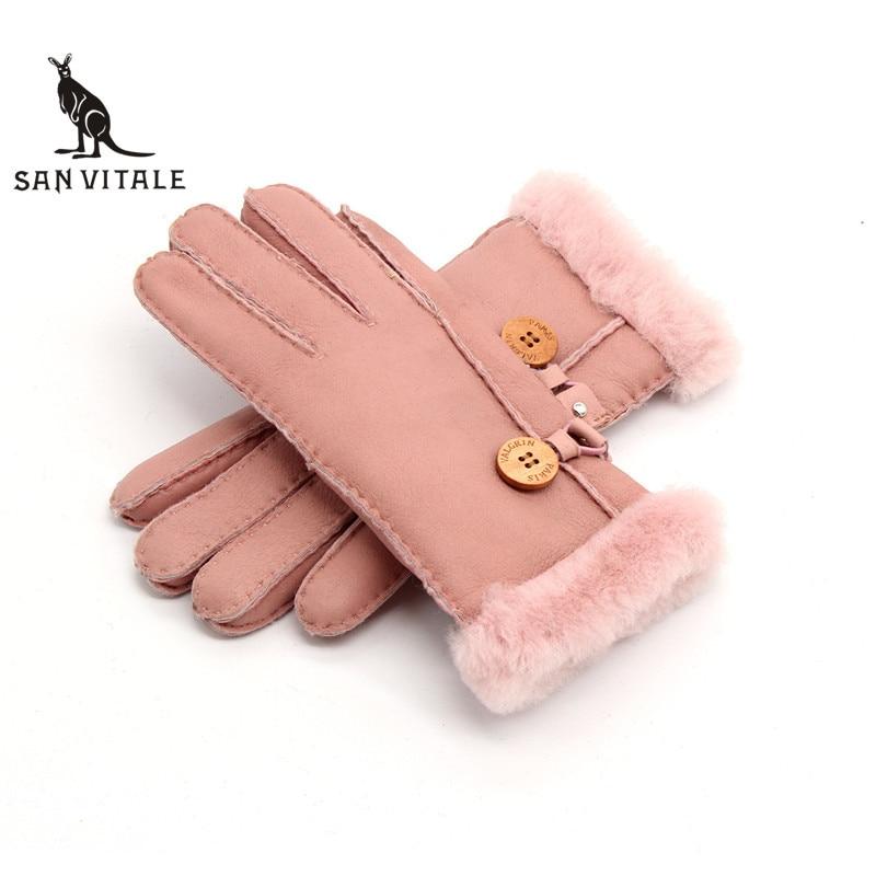 Gloves Women'S Mitten Winter Warm Fur Leather Thick Fashion Glove Sheepskin Casual Wool Clothing Accessories Apparel Plaid Wool