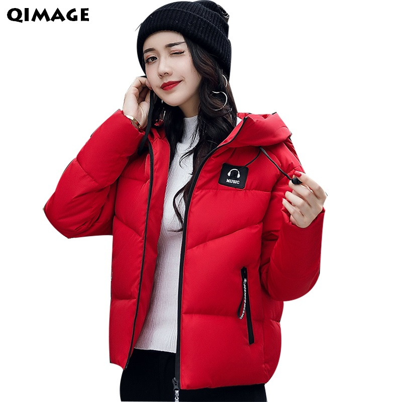 QIMAGE  Winter Jacket Coats 2017 New Women Short Parkas Female Hooded Thicken Warm Jackets Ladies Outwear Inverno Parka Wadded military jackets hooded warm cotton winter jacket women thicken wadded parka long womens jacket casual maxi coats parkas c3203