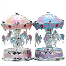 Flash Lamp Rotating Horse Music Box Originality Music Plastic Goods Of Furniture For Display Rather Than For Use The Music