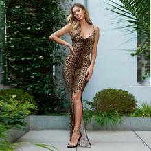 Sexy Scollo A V Leopard Maxi Dress Split Lunghezza Del Pavimento Del Vestito Senza Maniche Backless Vestito Da Partito Night Club(China)