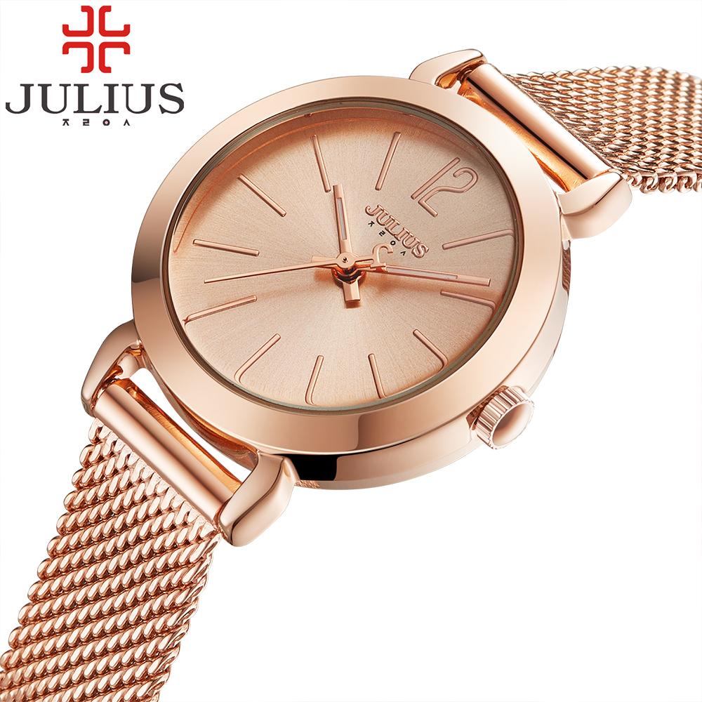 Prix pour 2017 julius marque dames femmes robe montres mince montre à quartz en acier maille bande de luxe or bracelet montre-bracelet relogio feminino