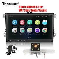 2Din Android radio 8.1 GPS Navigation Car Autoradio Player For Skoda SEAT Passat Volkswagen Magotan Wifi Bluetooth 2 din Radio
