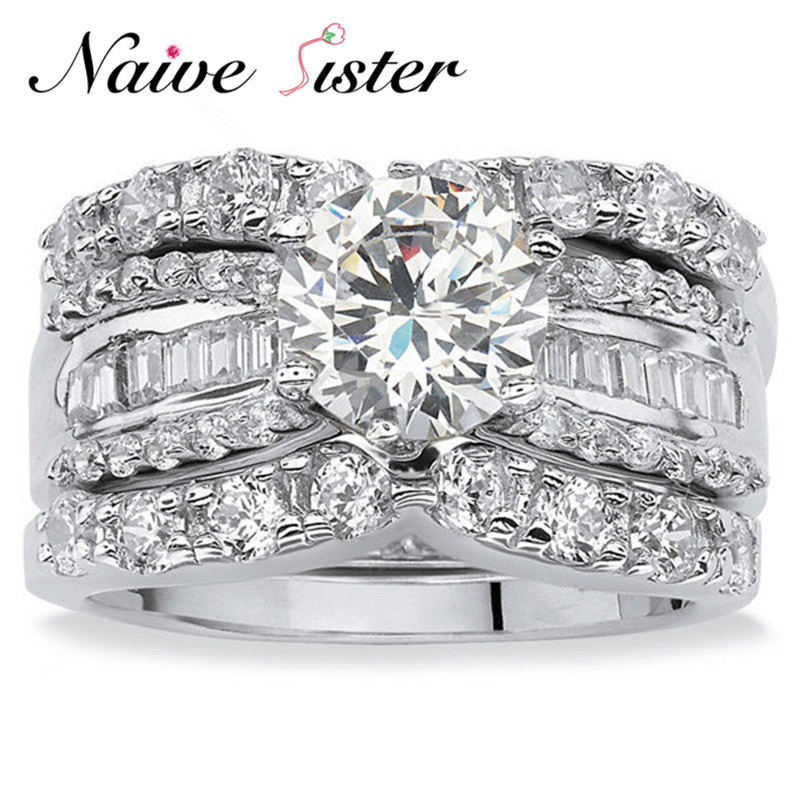 Luxury Fashion Silver Color Bridal Set Ring for Women with Paved Micro Zircon Crystal Wedding Jewelry 3pcs/Set Engagement Ring