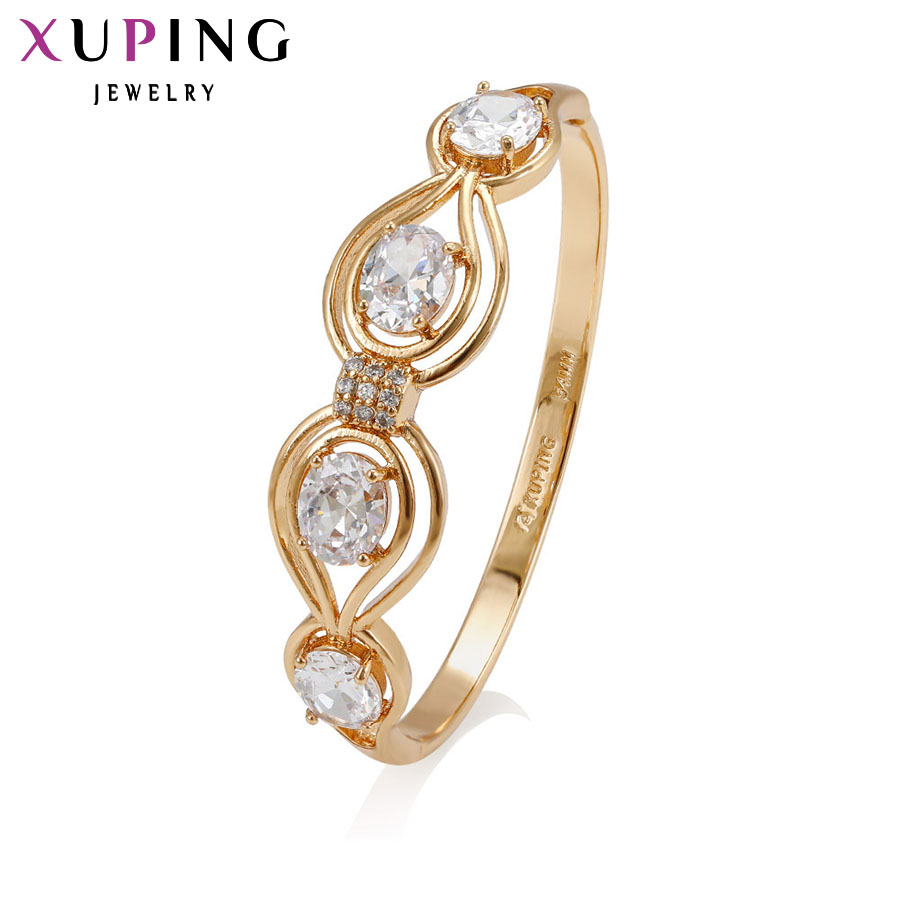 11.11 Deals Xuping Fashion Bangle 2017 New Arrival Jewelry Women Gift Luxury Gold Color Plated Synthetic CZ Big Promotion 51296