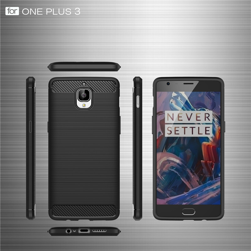 For OnePlus 3 3T Case Soft silicone Carbon Fiber Armor Protective back cover cases for One Plus 3T oneplus3 3t full cover shell