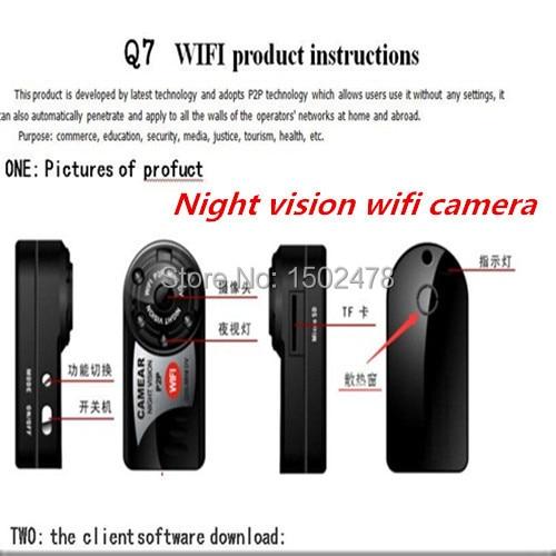 New HD WiFi camera Q7 mini dv sport cam dvr Wireless IP Camera night