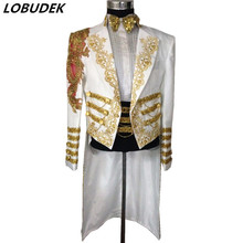 male wedding groom prom coats long jacket white tuexdo Trench dancer singer perf