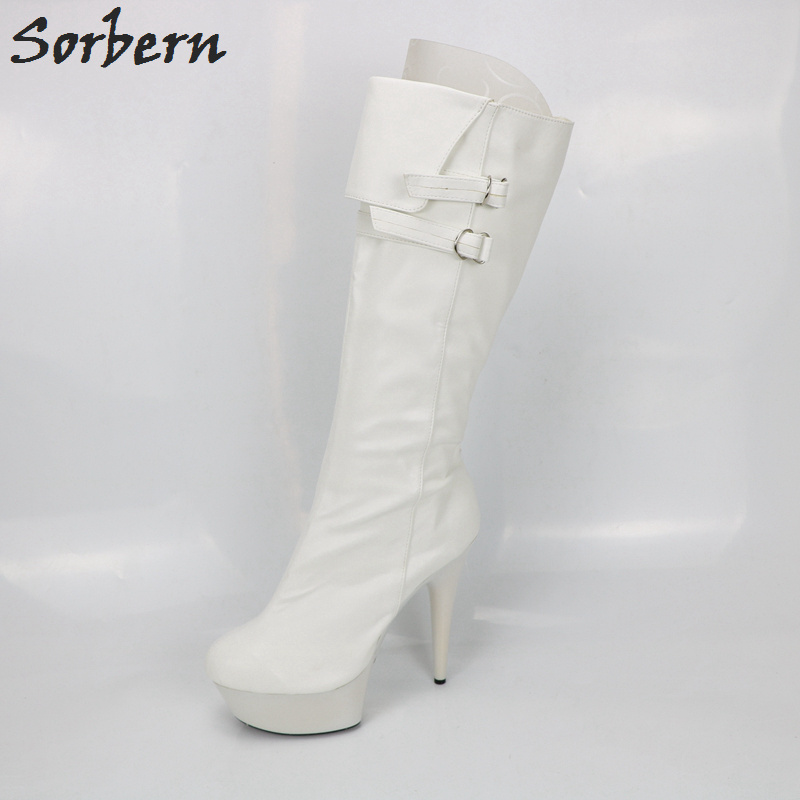 Sorbern White Matt PU Mid Calf Boots Large Size 15CM High Heels Round Toe Punk Woman Shoe Zip UP Boots Size 40 Ladies Shoes mid size