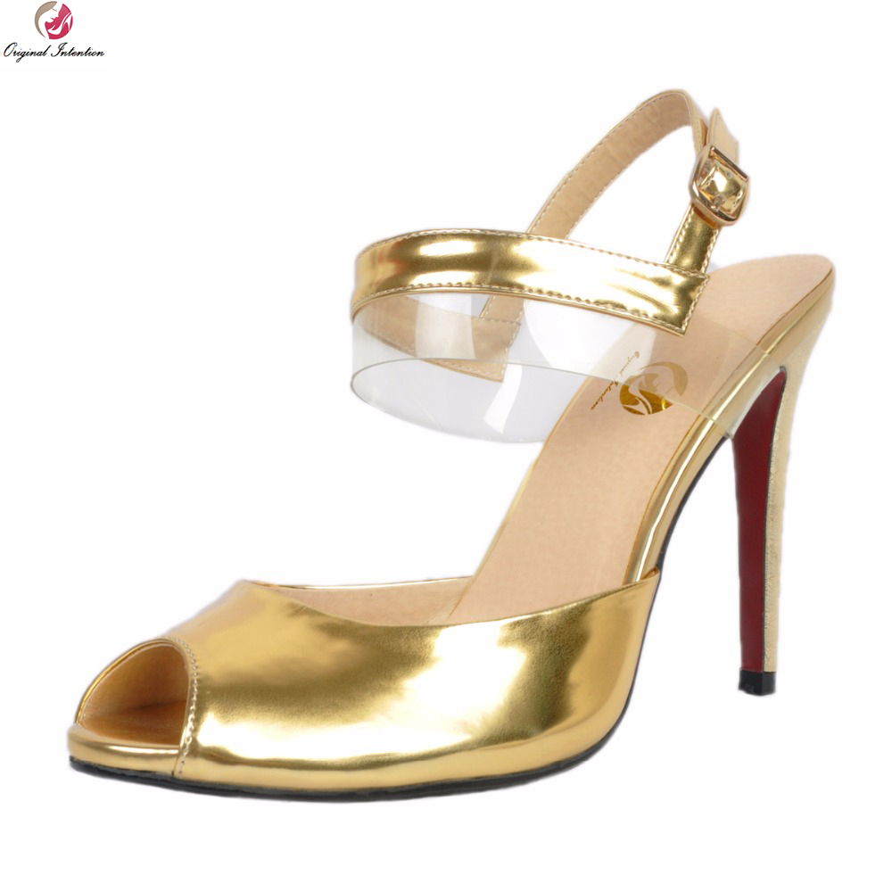Original Intention Stylish Women Sandals Nice Peep Toe Thin High Heels Sandals Gold Buckle Strap Shoes Woman Plus US Size 4-15 бк 04 магнит божья коровка 35мм 780420