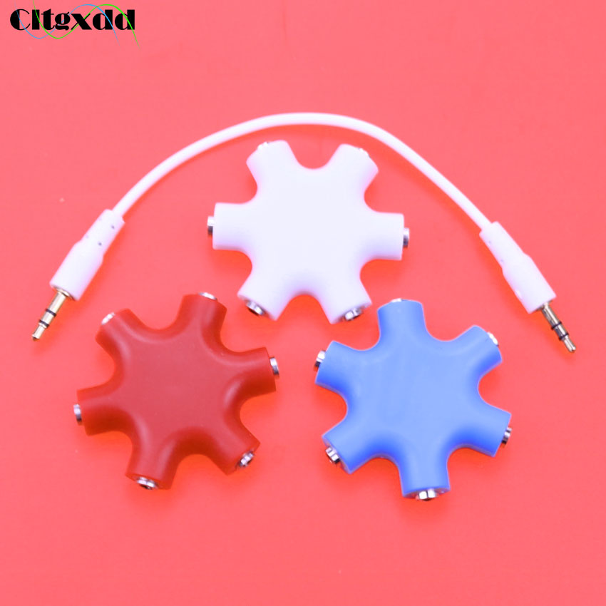 cltgxdd 10~20pcs 3.5mm Aux Audio Cable Splitter 1 Male to 5 Female headphone earphone Port 3.5 Jack Share Adapter vention headphone splitter earphone adapter audio 3 5mm female to 2 male jack 3 5 mic y splitter headset to pc adapter aux cable