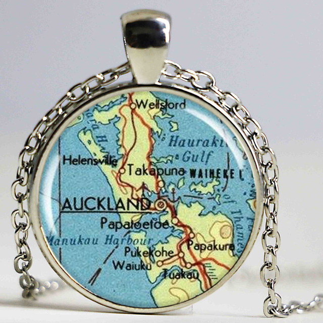 Auckland Map Pendant, Resin Charm, Auckland New Zealand Map Necklace ...